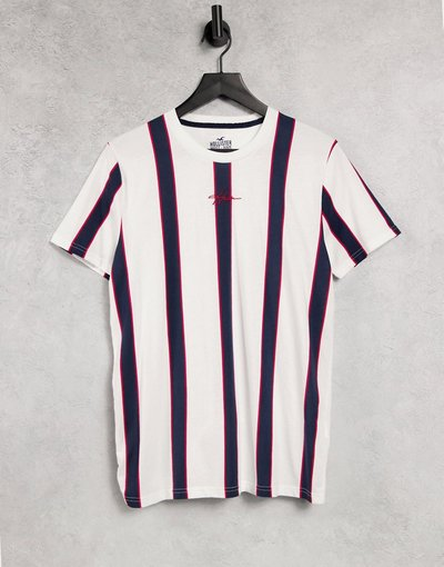 T-shirt Rosso uomo shirt a righe verticali con logo centrale rosso/bianco/blu - Hollister - T