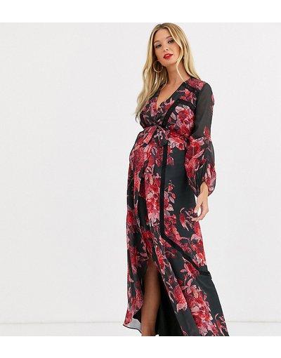 Eleganti lunghi Multicolore donna Vestito lungo a portafoglio con inserti in pizzo, maniche a campana e stampa a fiori - Hope&Ivy Maternity - Multicolore