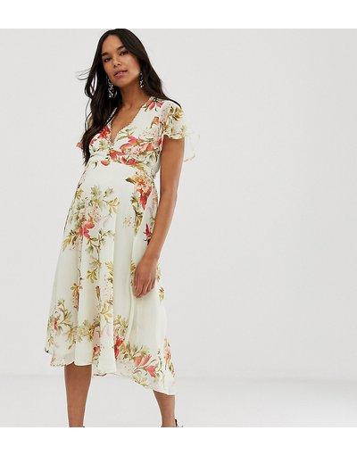 Multicolore donna Vestito midi a fiori a maniche corte con scollo a V - Hope&Ivy Maternity - Multicolore