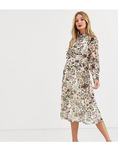 Crema donna Vestito midi accollato crema con stampa stile arazzo e polsini raccolti - Hope&Ivy Maternity