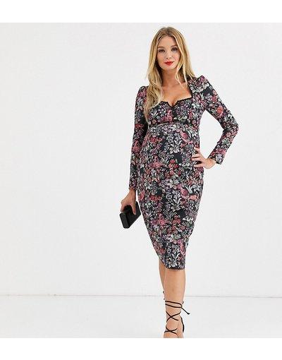 Multicolore donna Vestito midi con stampa a fiori, scollo a cuore e bordo in pizzo - Hope&Ivy Maternity - Multicolore