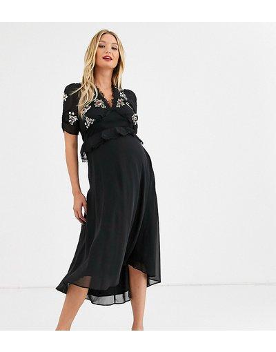 Nero donna Vestito midi nero a fiori ricamato con gonna a strati - Hope&Ivy Maternity