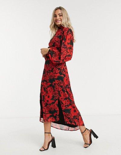 Eleganti lunghi Multicolore donna Vestito al polpaccio accollato con cintura aperto sul retro con vivace stampa di papaveri - Hope&Ivy - Multicolore