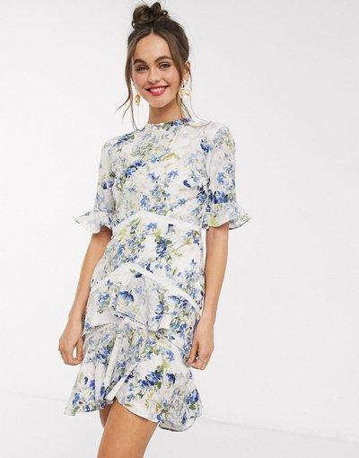 Multicolore donna Vestito corto a fiori con schiena scoperta - Hope&Ivy - Multicolore