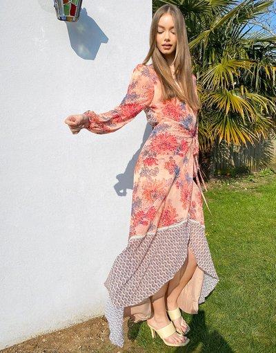Crema donna Vestito lungo a portafoglio con maniche a volant e fondo a balze - Hope&Ivy - Crema