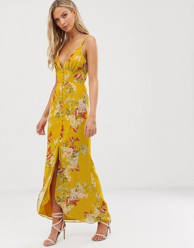 Giallo donna Vestito midi a fiori con bottoni e spalline sottili - Hope&Ivy - Giallo
