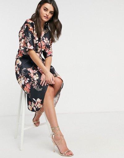 Blu navy donna Vestito midi a portafoglio in stile kimono blu navy - Hope&Ivy