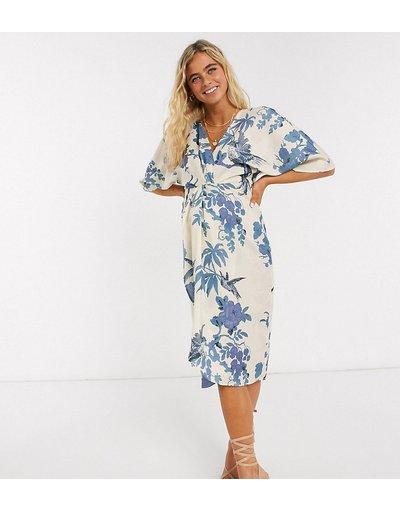 Multicolore donna Vestito midi stile kimono premaman a fiori - Hope&Ivy - Multicolore