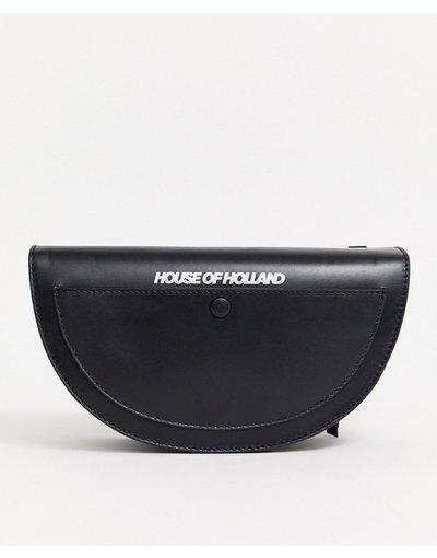Portafoglio Nero donna Borsa a tracolla a mezzaluna in pelle - House Of Holland - Nero