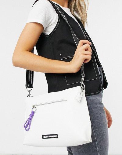 Portafoglio Bianco donna Borsa a tracolla bianca con zip e cordoncino - House of Holland - Bianco