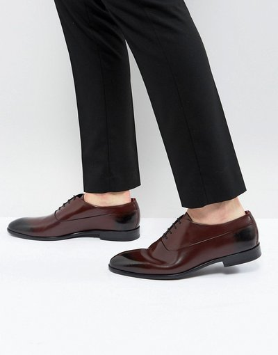 Rosso uomo Scarpe Oxford stringate bordeaux in pelle - Appeal - HUGO - Rosso