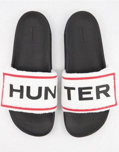 Novita Bianco uomo Sliders bianche e nere in spugna - Hunter Originals - Bianco