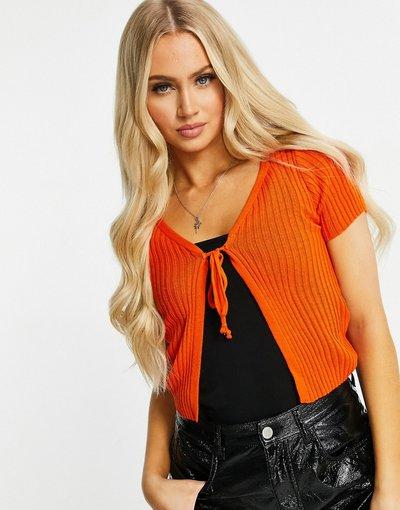 Arancione donna Cardigan allacciato sul davanti, colore arancione - I Saw It First