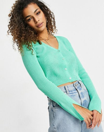 Verde donna Cardigan con spacco sulle maniche verde - I Saw It First