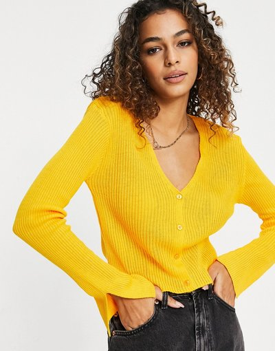 Giallo donna Cardigan giallo con spacco sulle maniche - I Saw It First