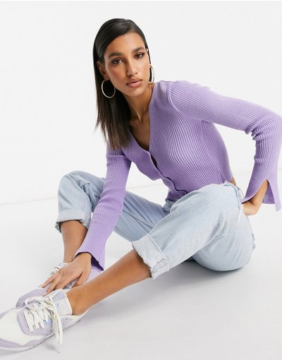 Viola donna Cardigan lilla con spacco sulle maniche - I Saw It First - Viola