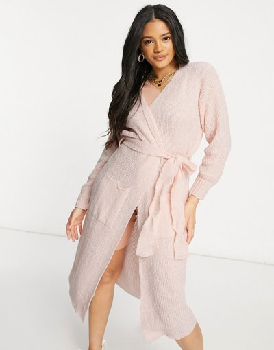 Rosa donna Cardigan lungo in maglia con cintura rosa - I Saw It First
