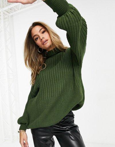 Verde donna Maglione oversize in maglia kaki con maniche a palloncino - I Saw It First - Verde
