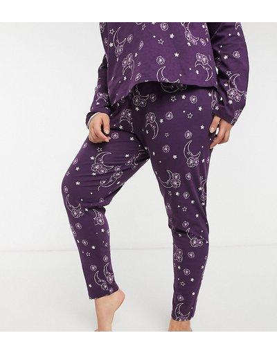 Pigiami Viola donna Leggings del pigiama Mix&Match con stampa con tarocchi, colore viola - ASOS DESIGN Curve - In esclusiva