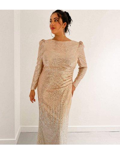 Oro donna Vestito lungo con paillettes oro e argento effetto sfumato - In esclusiva Jaded Rose Plus