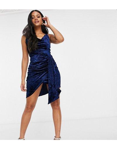 Blu donna Vestito corto drappeggiato in velluto cobalto - In esclusiva Jaded Rose - Blu