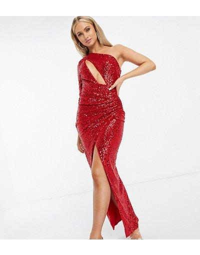 Rosso donna Vestito lungo monospalla con paillettes color mora - In esclusiva Jaded Rose - Rosso