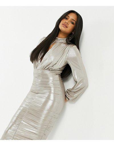 Crema donna Vestito midi metallizzato con ruches color champagne - In esclusiva Jaded Rose - Crema