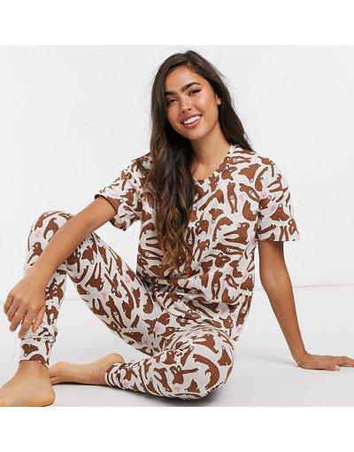 Pigiami Crema donna shirt e leggings in cotone organico con stampa di bradipo color crema - In esclusiva per Lindex _ Set T