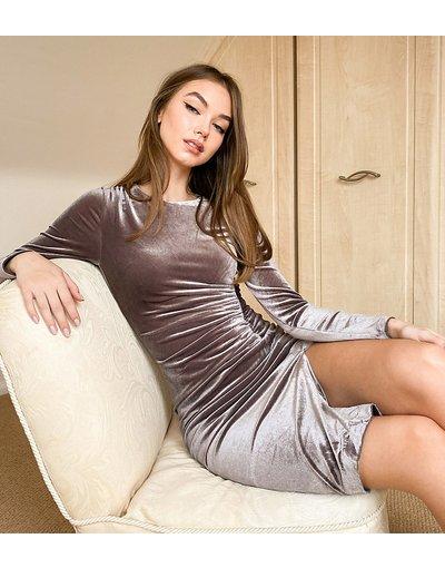 Grigio donna Vestito midi in velluto grigio antracite con arricciature laterali - In esclusiva Style Cheat