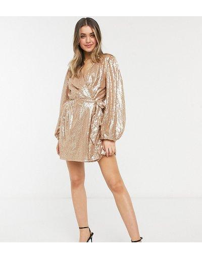 Oro donna Vestito skater corto avvolgente e squadrato con paillettes colore oro - In The Style in esclusiva