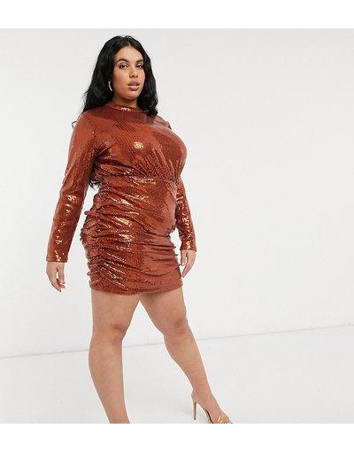Arancione donna Vestito corto accollato con strass 2 in 1, color ruggine - In The Style Plus in esclusiva - Arancione