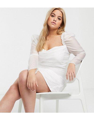 Bianco donna Vestito corto in rete con ruches e maniche a sbuffo bianco - In The Style Plus