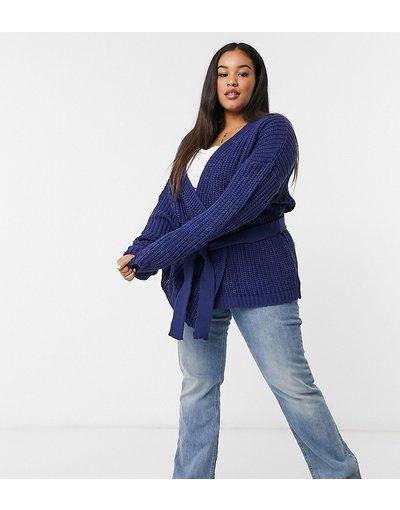 Navy donna Cardigan con maniche ampie blu navy - In The Style Plus x Billie Faiers
