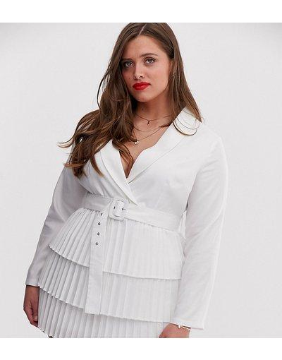 Bianco donna Vestito stile blazer bianco con scollo profondo e gonna a pieghe - In The Style Plus x Dani Dyer