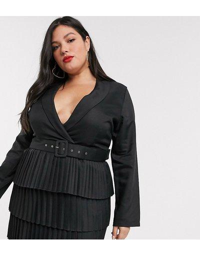 Nero donna Vestito stile blazer nero con scollo profondo e gonna a pieghe - In The Style Plus x Dani Dyer