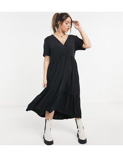 Nero donna In The Style Plus X Jac Jossa - Vestito grembiule midi nero