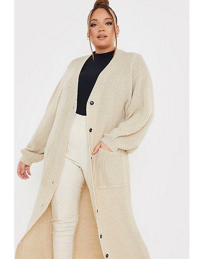 Cuoio donna In The Style Plus x Lorna Luxe - Cardigan lungo color cammello - Cuoio