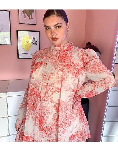 Multicolore donna Vestito grembiule rosa a fiori con maniche a sbuffo - In The Style Plus x Lorna Luxe - Multicolore