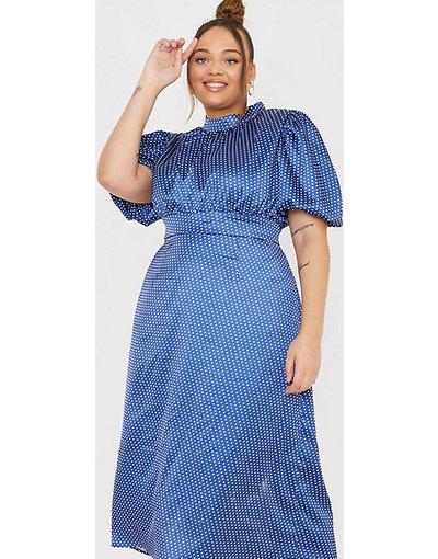 Multicolore donna Vestito midi con maniche a sbuffo blu navy a pois - In The Style Plus x Lorna Luxe - Multicolore
