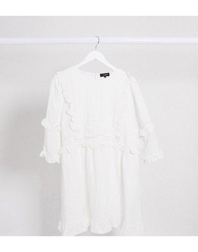Bianco donna Vestito skater con ruches bianco - In The Style Plus x Lorna Luxe