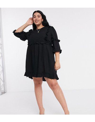 Nero donna In The Style Plus x Lorna Luxe - Vestito skater nero con volant