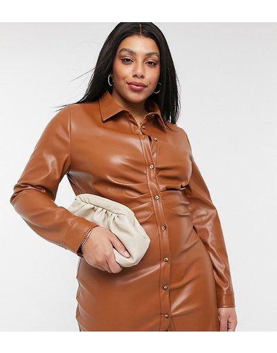 Rosso donna Vestito corto in ecopelle PU arricciato con bottoni - In The Style Plus x Naomi Genes - Rosso