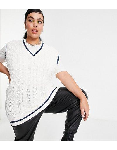 Crema donna Canotta in maglia a trecce crema con spacchi laterali - In The Style Plus x Saffron Barker