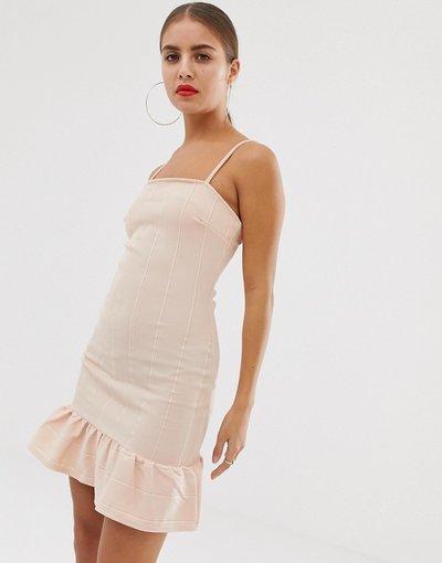 Rosa donna Vestito a fascia con peplo sul fondo - In The Style - Rosa