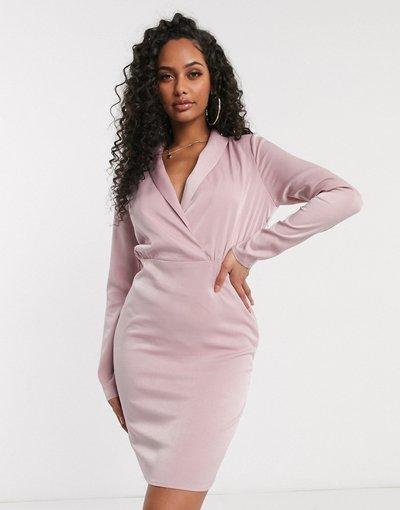 Rosa donna Vestito corto a portafoglio con scollo profondo rosa - In The Style