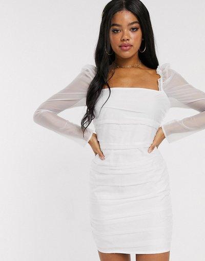 Bianco donna Vestito corto a rete con maniche a sbuffo e ruches bianco - In The Style