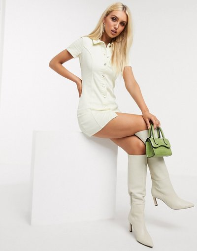 Crema donna Vestito corto di jeans crema con bottoni - In The Style