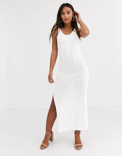 Bianco donna Vestito lungo a coste - In The Style - Bianco