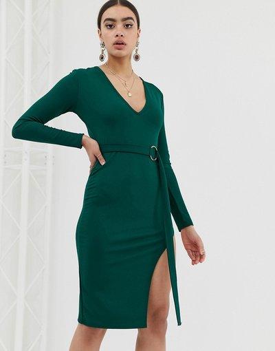 Verde donna Vestito midi con scollo profondo - In The Style - Verde
