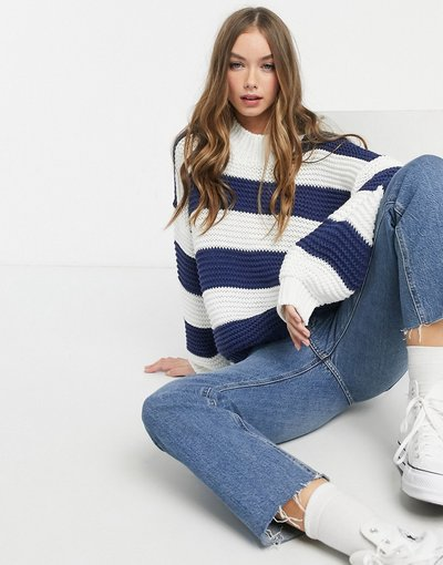 Navy donna Maglione oversize lavorato con righe a contrasto navy - In The Style x Billie Faiers